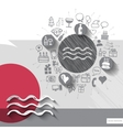Hand drawn water icons with icons background vector image