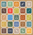 Stationery line flat icons on brown background vector image