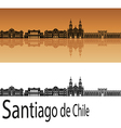 Santiago de Chile skyline in orange vector image vector image