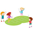 Children playing hopscoth together vector image
