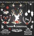Chalkboard Christmas FlowersDeerRustic Christmas vector image