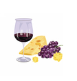 Glasses of wine with grapes and piece of cheese vector image