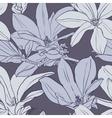 Gray vintage magnolia seamless pattern vector image