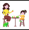 mother and her daughter sit at the table and eat vector image
