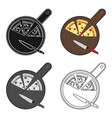 pizza on cutting board icon in cartoon style vector image