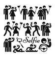 Selfie stick woman and man icons set vector image