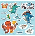 Sticker set of underwater pirates in cartoon style vector image