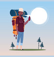 traveler african american man with backpack happy vector image