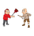 two men with plunger and a hose vector image