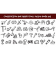 doodle construction and repair icons set vector image