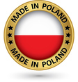 Made in Poland gold label vector image