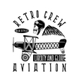 retro aviation design with skullairplane and wings vector image