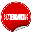 skateboarding round red sticker isolated on white vector image