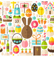 Happy Easter Holiday Flat White Seamless Pattern vector image