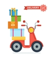 scooter whith boxes vector image