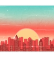 Urban landscape with skyscraper Sunset in city vector image