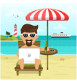 freelance on beach vector image