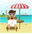 freelance on beach vector image