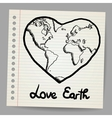 Earth Love doodle vector image