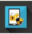 cartoon smartphone black with lock key security vector image