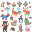 christmas forest animals set retro fairy elements vector image