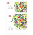 Floral calendar 2014 april Design for two size of vector image