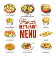 french restaurant menu with traditional national vector image