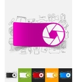 photo paper sticker with hand drawn elements vector image