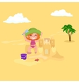 Summer children Kids playing in the sand on beach vector image
