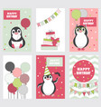 collection of birthday cards with cute penguins vector image