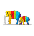 elephant mother with child striped sketch for vector image