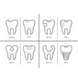 icons of tooth treatment reconstruction vector image