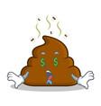 money eye poop emoticon character cartoon vector image