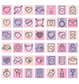 set of 42 simple icons with heart for valentines vector image