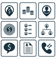 set of 9 management icons includes business deal vector image