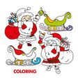 silhouette santa claus ringing bell sleigh vector image