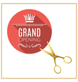 Grand Opening circle button with golden scissors vector image