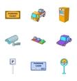 Public parking icons set cartoon style vector image