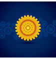 yellow gear on blue background vector image