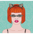Girl in carnival lacy mask vector image