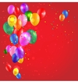 Color balloons on red background vector image