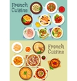 French cuisine meat and dessert dishes icon set vector image