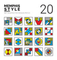 set memphis patch vector image
