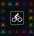 Cyclist icon sign Lots of colorful symbols for vector image
