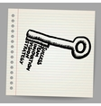A key with words business doodle concept vector image