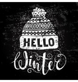 Hello winter text and knitted woolen cap Seasonal vector image