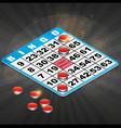 Isometric Bingo Card with winning chips vector image