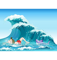 A boy swimming with a shark at the back vector image vector image