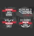 set of clearance sale school typographic vector image