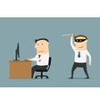 Competitor sneaks a knife to the businessman vector image vector image